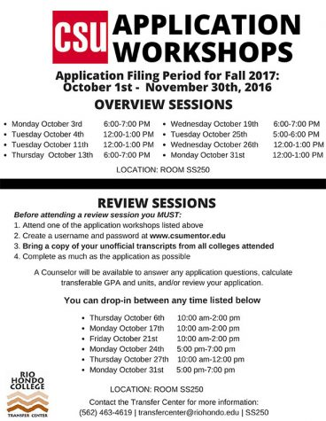 The Transfer Center will be hosting workshops during the months of October/ November to assist students with CSU applications!