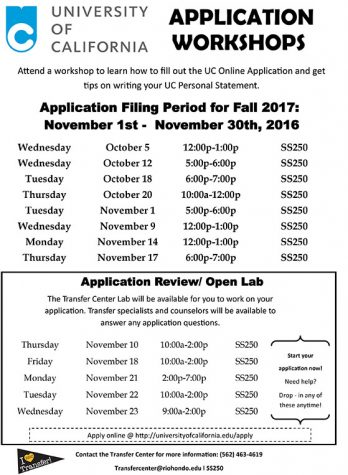 The Transfer Center will be hosting workshops during the months of October/ November to assist students with UC applications!