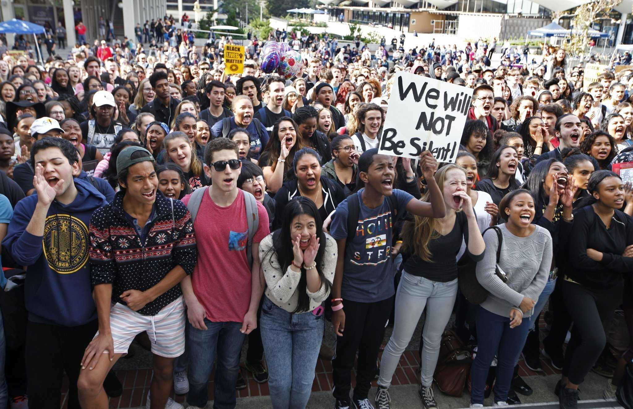 Students took to the streets to protest the President- Elect, Donald Trump. Berkeley is known for its historical protests during the civil rights movement.
