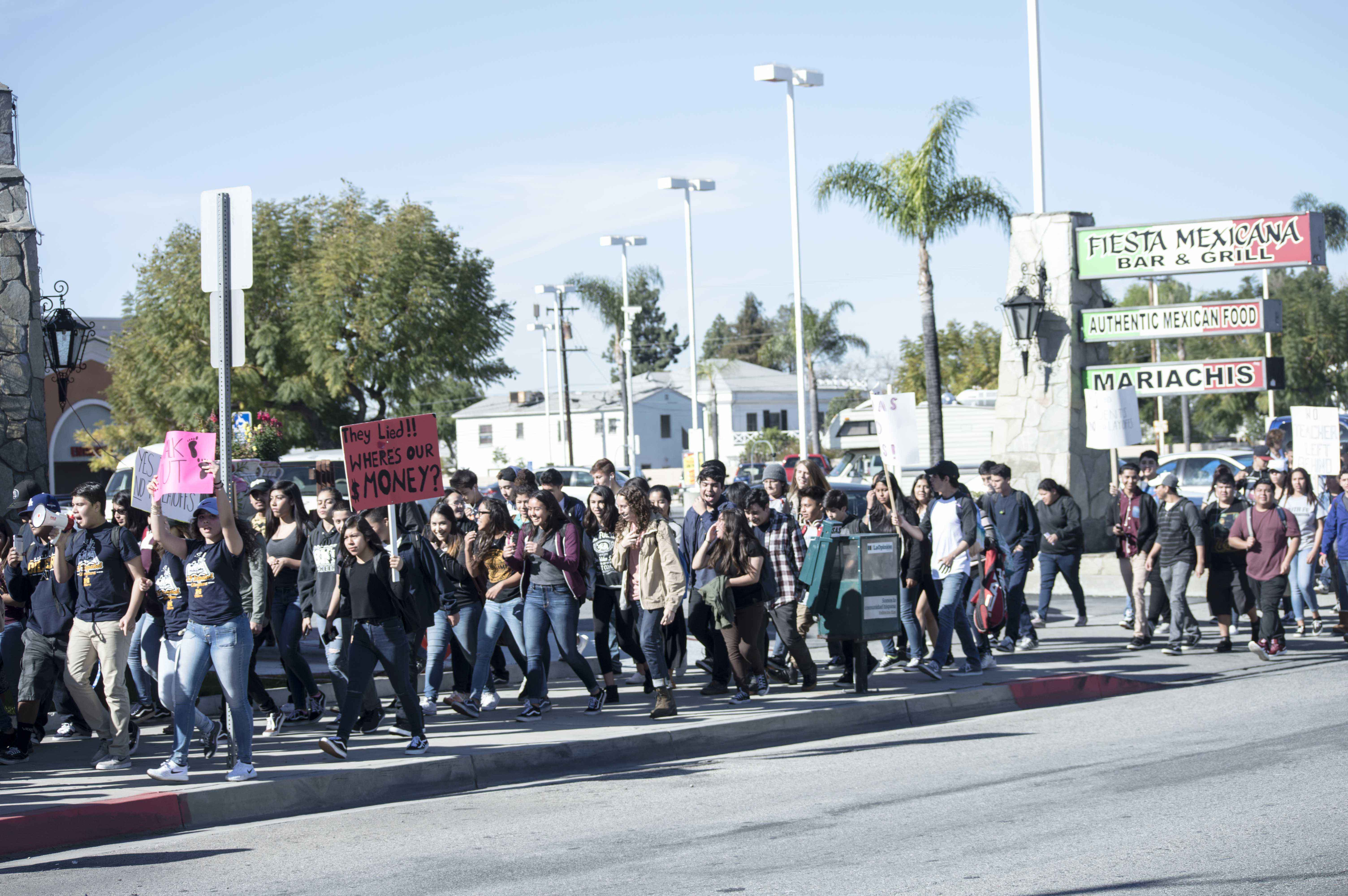 Students March Down Whittier Boulevard from MHS to the Montebello District Office.