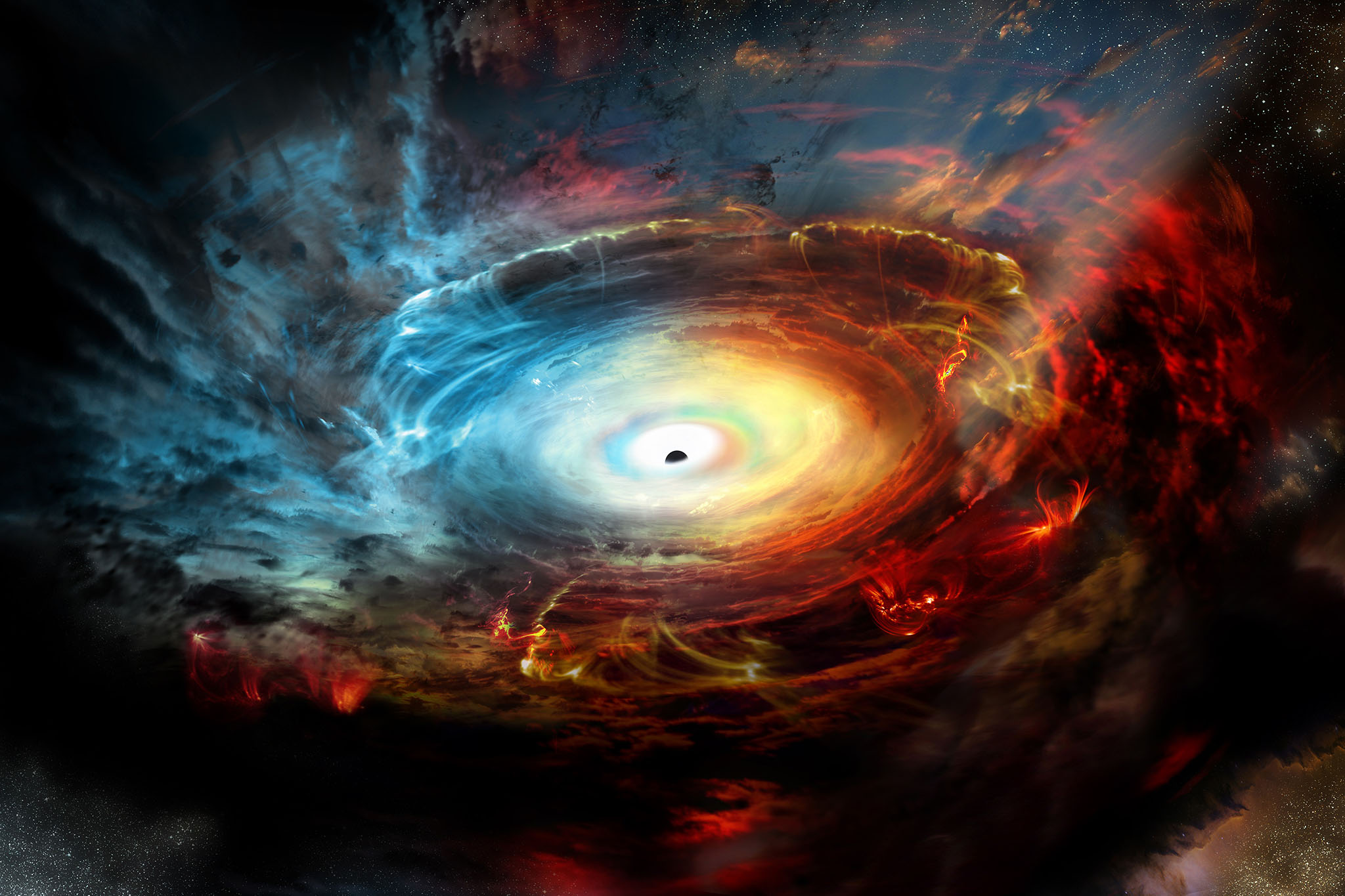 The Event Horizon Telescope, housed in MIT, was used over the course of the past two weeks in order to capture several photographs of the super massive black hole residing in the center of our galaxy. The is one of the images, illustrated by MIT artists.