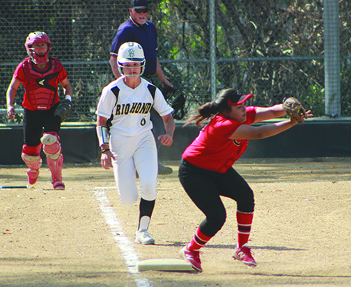 April 11- Sarah Huffed- Salgado, freshman OF for Rio Hondo, sprints towards first base in a matchup that would see the Lady Roadrunners come back to win the game after being behind by three for a majority of the game.