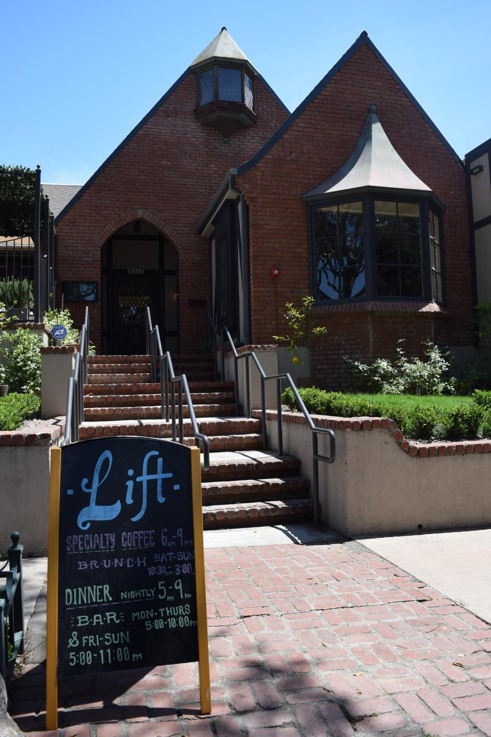 The Front of Lift Coffee Roasters, located near the corner of Greenleaf and Hadley, Highlights their weekly specials of fresh food and on locally ground coffee