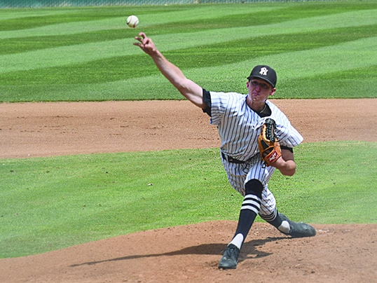 April 20- Rio Hondo Collehe sophomore pitcher, Brady Carlson, delivers a change up against Chaffey to keep opposing batters off balance.