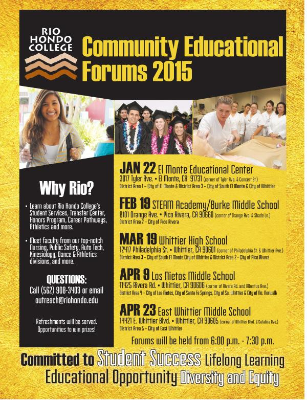 Rio Hondo College Hosts Educational Forum in East Whittier