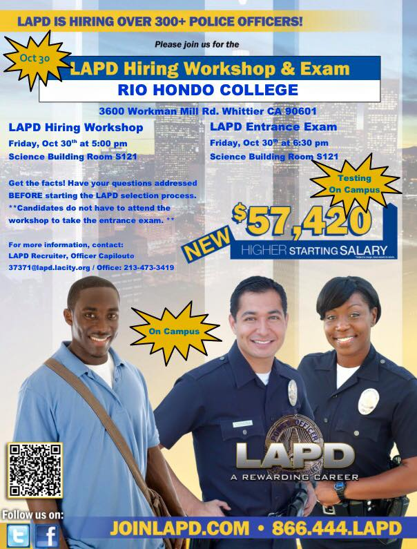 LAPD Hiring Over 300+ Police Officers, workshop to be held on campus