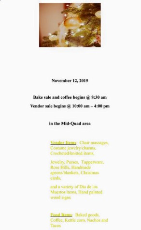 Bake and holiday boutique sale to be held on campus