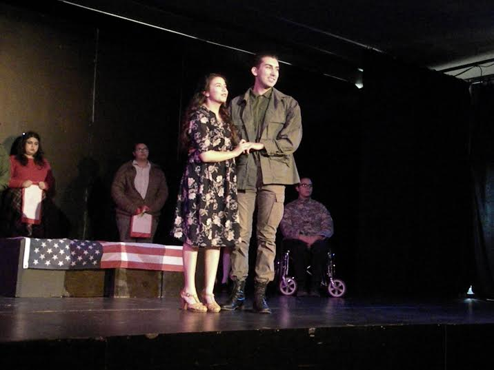 Helen and Buddy, played by Justine Gonzales and Jose Barajas, announce their wedding after the end of WWII in Women and War. (Noah Cervantes/El Paisano)