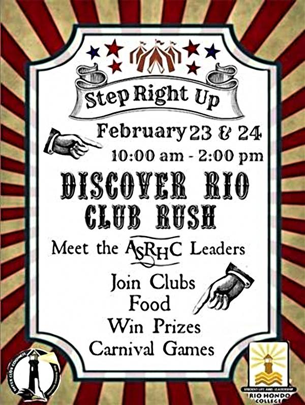 Discover Rio and Club Rush to be held Feb. 23 and 24