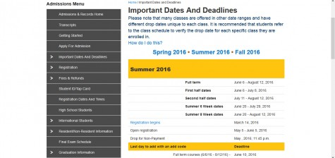 Summer and Fall 2016 registration dates announced