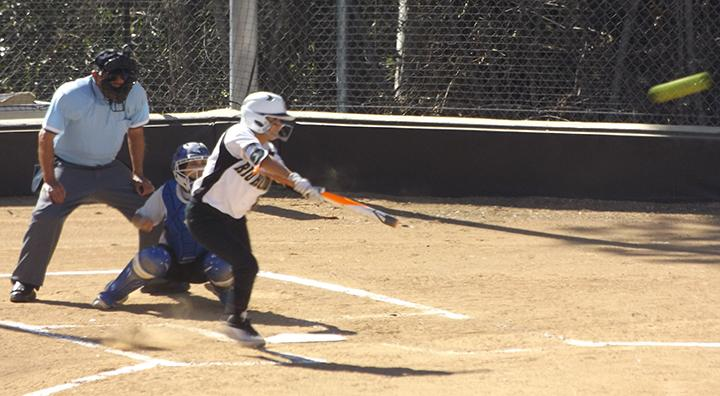Esthefany Martinez gets a solid hit for Rio Hondo in their 9-0 shutout against San Bernardino Valley on March 23.