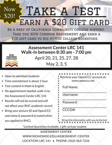 RHC students can earn a $20 giftcard by taking a test