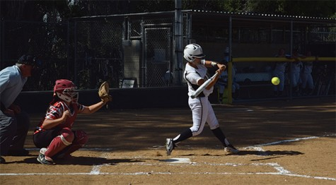 Rio Hondo softball In-Fielder Elaine Verdugo makes solid contact and gets a powerful hit against College of the Desert on April 20.