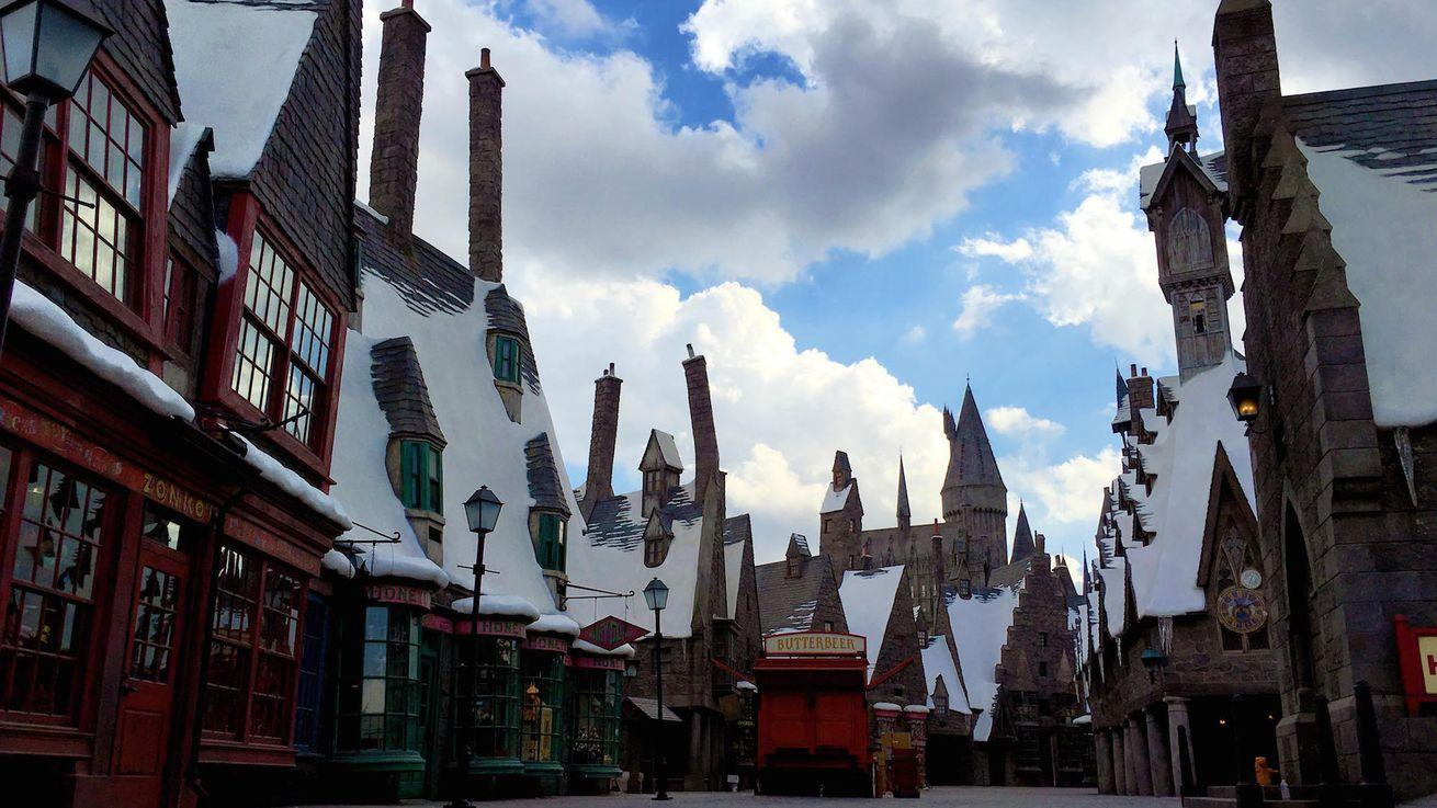 The Wizarding World of Harry Potters walkway inside the Universal Studios Hollywood, Los Angeles.