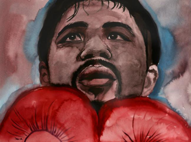 Watercolor+painting+of+%0AManny+Pacquiao%2C+titled+%22Manny%22+by+Salomon+Huerta.