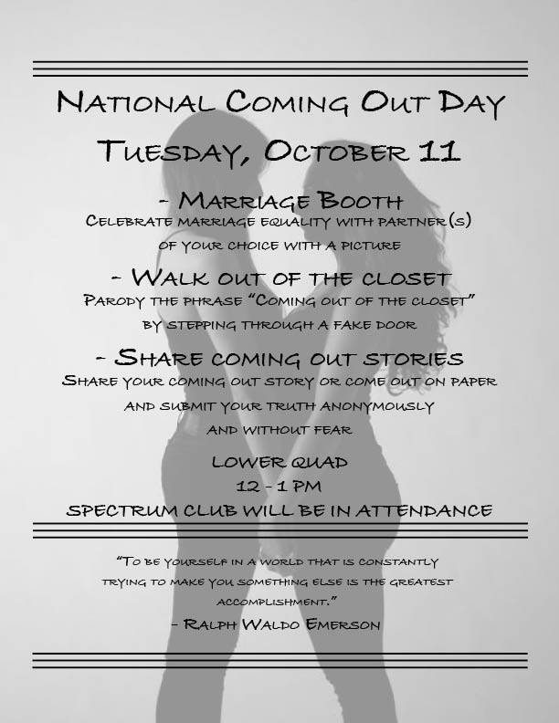 National Coming Out Day is October 11th - El Paisano