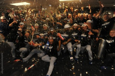 The Dodgers celebrate their victory over the Nationals. They will now face the Chicago Cubs in the NLCS for a spot in the World Series.