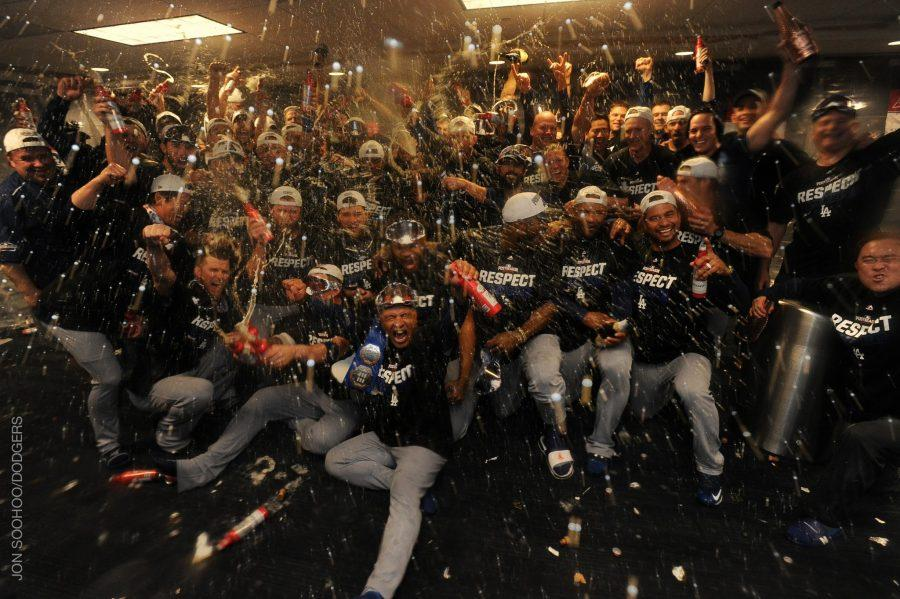 +The+Dodgers+celebrate+their+victory+over+the+Nationals.+They+will+now+face+the+Chicago+Cubs+in+the+NLCS+for+a+spot+in+the+World+Series.