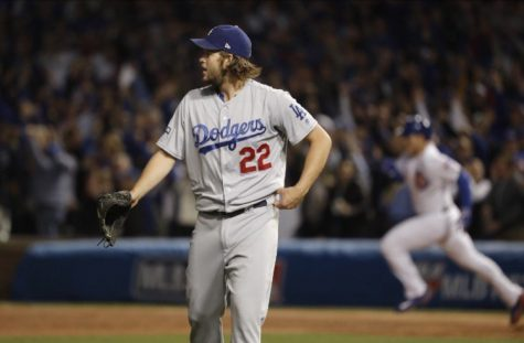 Clayton Kershaw watches one of his pitches travel to the outfield during game six of the NLCS.