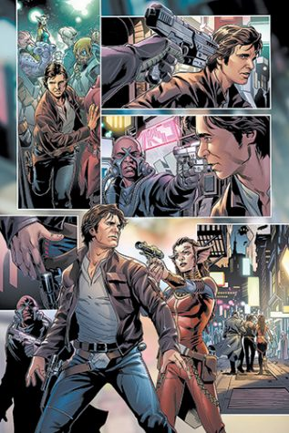 In issue #1, Princess Leia assigned two undercover rebels to track down Solo and request the use in the deadly Dragon Void race. Of course, Solo declined.