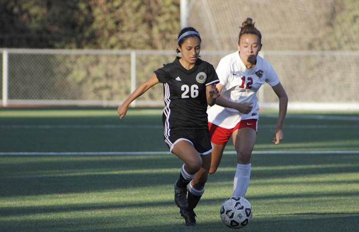 Rio+Hondo+College+Defender+Isabel+Garay+pushes+the+ball+up+the+field+in+an+attempt+to+create+space+for+her+teammate+against+Chaffey+College+Oct.+11.