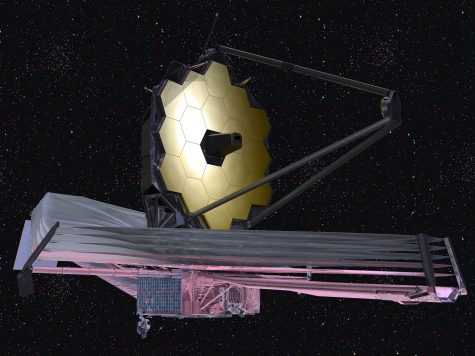 A rendered image of the James Webb Space Telescope unfurled and in action.