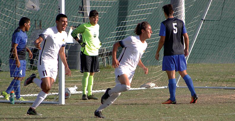 Rio Hondo men's soccer play #4 Ricky Sotelo scored the opener against Cerritos College Oct. 26 after picking up a rebound that the opposing Falcon goal keeper spilled out after he failed to hold onto a low driven shot.