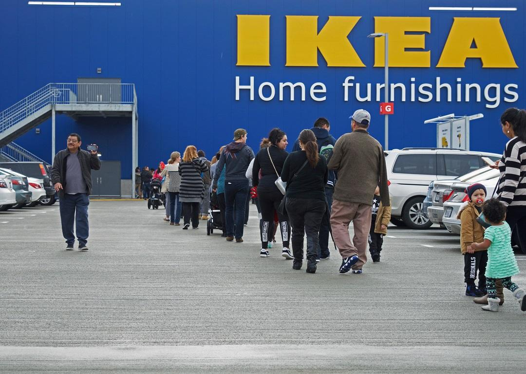 IKEA shoppers lined up Wednesday morning for the grand opening of the new IKEA store in Burbank--the branches largest store in the U.S.