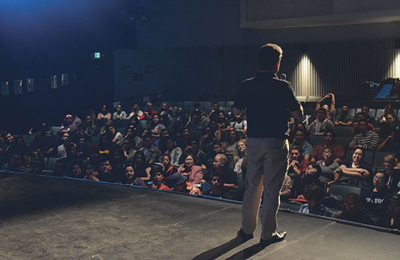 Bill Shaikin, national baseball writer for the Los Angeles Times, talks about his experiences at the Times at a packed Wray Theater, April 20, for Writes of Spring.