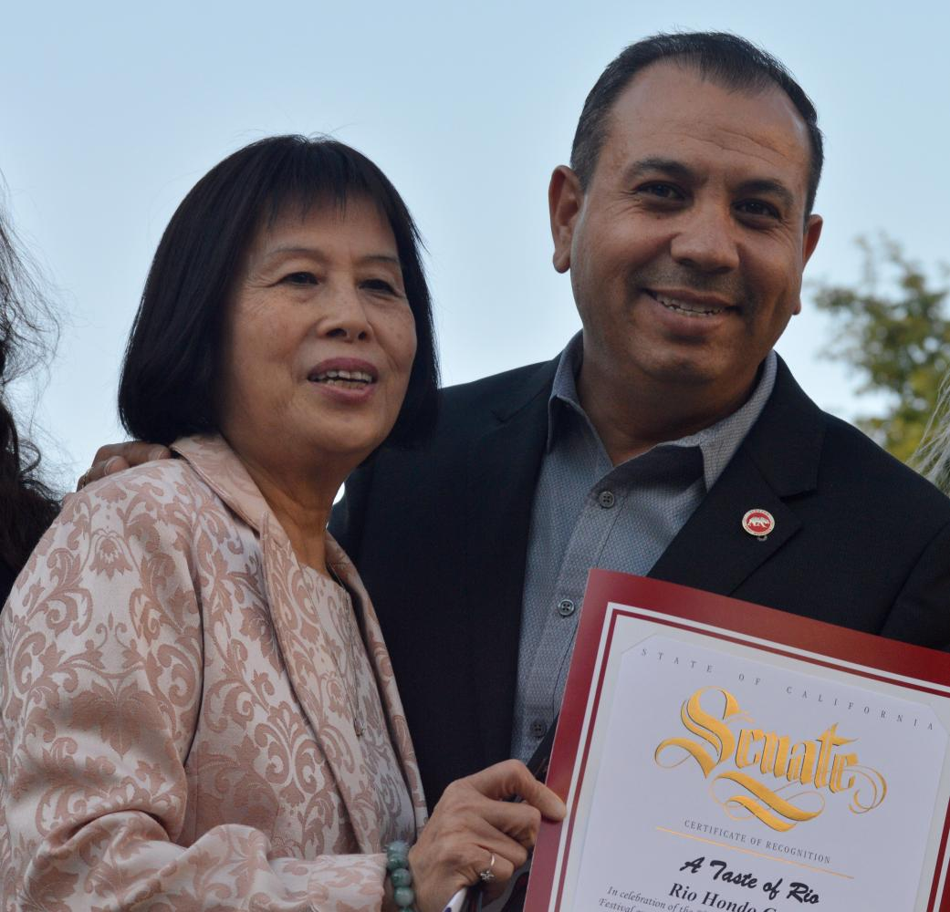 Superintendent Teresa Dreyfuss and California Senator of the 32nd District Tony Mendoza attend 'A Taste of Rio' Friday, April 28.