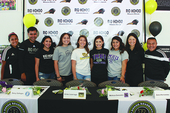 May 4- From left to right: Assistant Coach Yahaira Hernandez, Assistant Coach Will Lopez, Zaira Hernandez, Daisy Gallegos, Erika Lizarraga, Melissa Gonzales, Gracie Lopez, Head Coach Jennifer Tanaka and Assistant Coach Armando Gutierrez.
