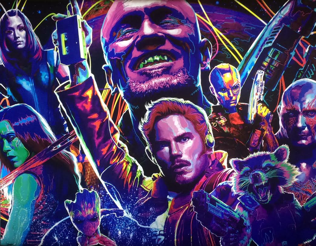 The+widely+diverse+cast+and+vibrant+color+palette+of+%E2%80%9CGuardians+of+the+Galaxy+Volume+2%E2%80%99s%E2%80%9D+poster%2C+located+in+the+lobby+of+the+Hollywood+Arclight+theater%2C+accurately+represents+the+explosive+entertainment+factor+of+the+film.