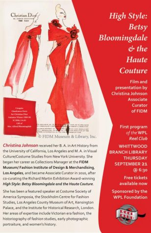 FIDM Associate Curator to Hold Presentation and Film at Whittwood Branch Library