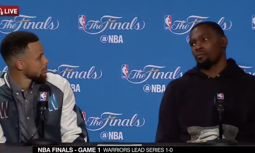 Curry and Durant in postgame interview (courtesy of NBA)