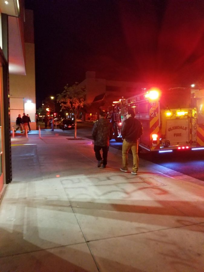 Glendale Fire and Rescue arrived outside the Alex Theatre shortly after Kevin Smith was scheduled to perform. Fans waited to see Smith off, wishing him well.