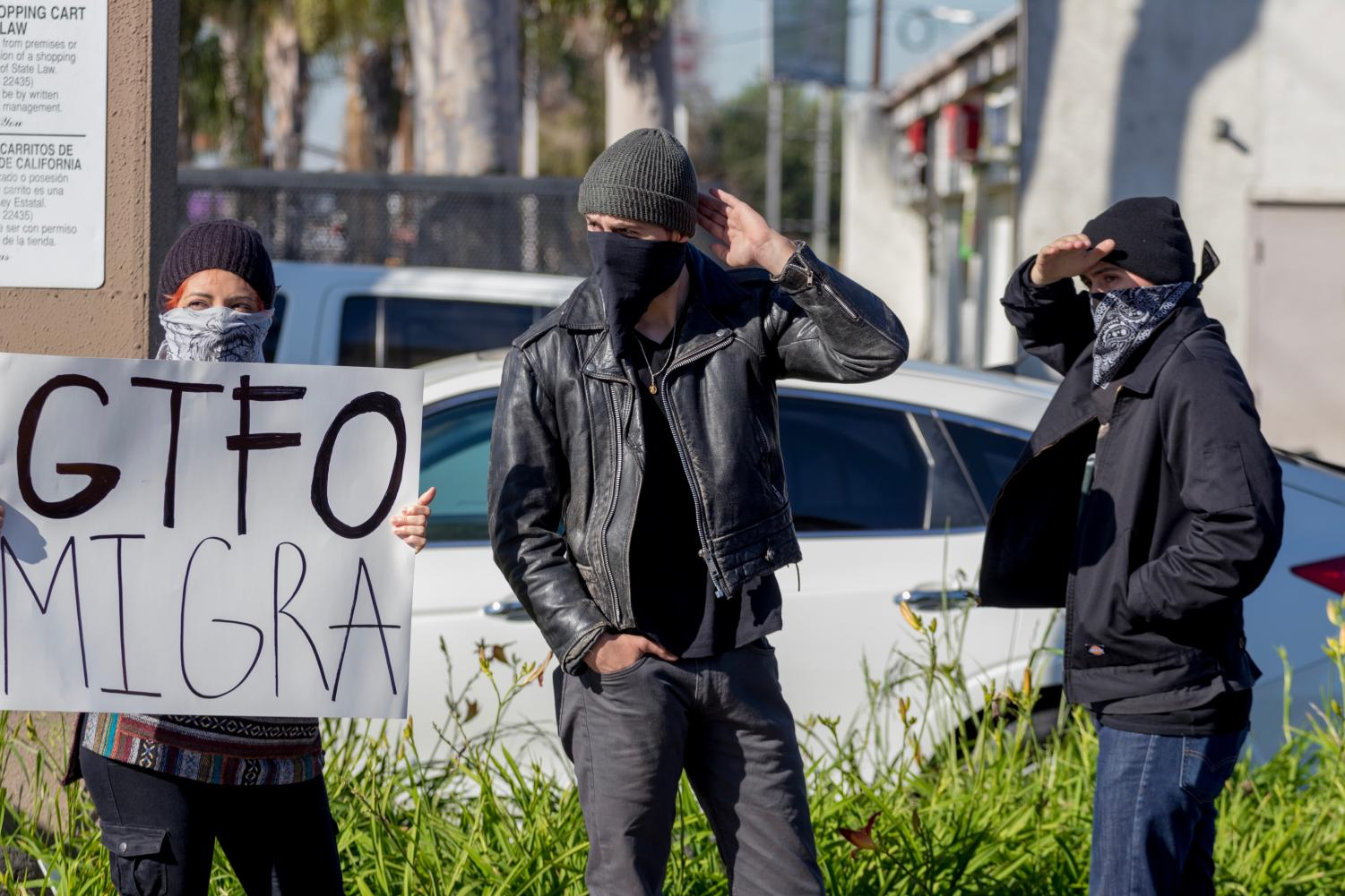 Protestors displayed their animosity towards immigration and customs enforcement in the Northgate Market parking lot, the morning of Feb. 21.