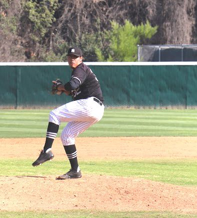 Rio Hondo pitcher Edmundo Fernandez tried to keep the Roadrunners in the game against LBCC, but was unable to stop the Vikings' bats.