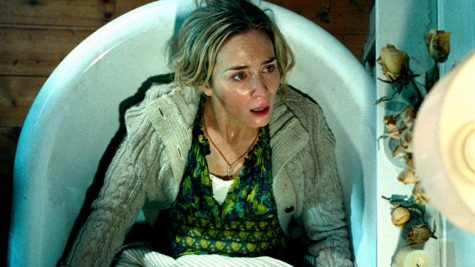 A Quiet Place stars Emily Blunt (above) and John Krasinski. They play parents protecting their family in the woods from creatures that hear everything.