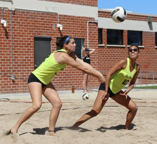 Andrea Velasco (no. 10) and Madison Mader (left), beat Fullerton College's ones on Wednesday.