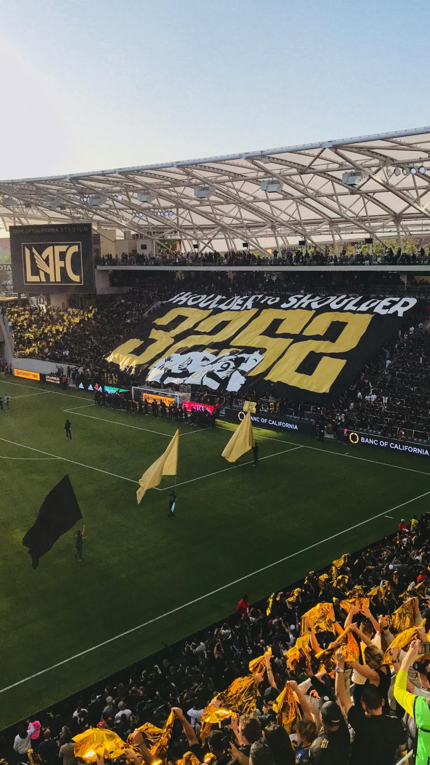 The opening of Banc of California Stadium included tifos from the supporters section.