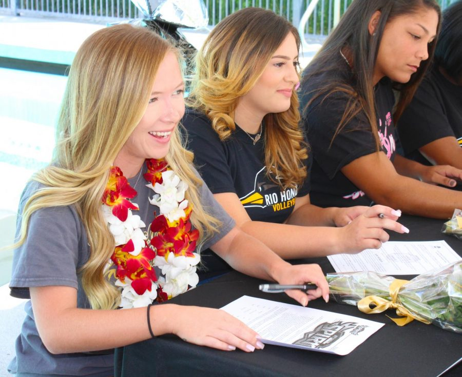 Sara Harding (left), seated by Natalie Magallon and Bree Newton (right). Harding was a part of the indoor and beach volleyball teams while being a copy editor for El Paisano during her last two semesters at Rio Hondo.