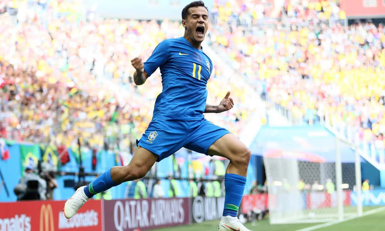 Philippe Coutinho celebrates after scoring his second goal of the tournament, giving Brazil a last-minute victory over Costa Rica. Photo credit: theguardian.com