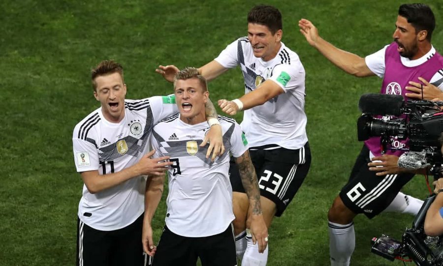 Germany made things interesting in Group F after Toni Kroos (center) scored a late winner. Photo credit: theguardian.com