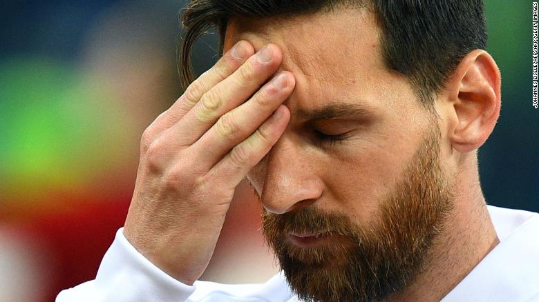 Lionel Messi on the brink of elimination after loss to Croatia in Nizhny Novgorod. Photo credit: cnn.com