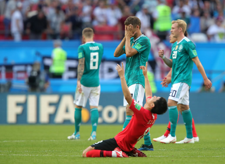 In Kazan, Ju Sejong of South Korea (red) celebrates the win which sent Germany packing. The German loss also meant Mexico were given a life-line despite losing to Sweden in Ekaterinburg. Photo credit: Alexander Hassenstein, Getty Images