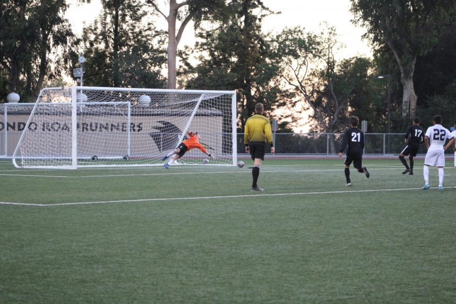 Roman Delgado (no. 17) steps up and buries his penalty kick past Irvine Valley goalkeeper. Up next for Rio Hondo following a 2-0 win over Irvine Valley is a home game against Mira Costa Friday at 6 p.m. Photo credit: Ignacio Cervantes