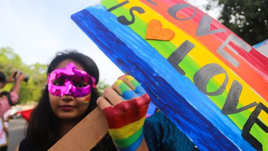 LGBT Supporter participating in pride parade in Bhopal on July 15, 2018
