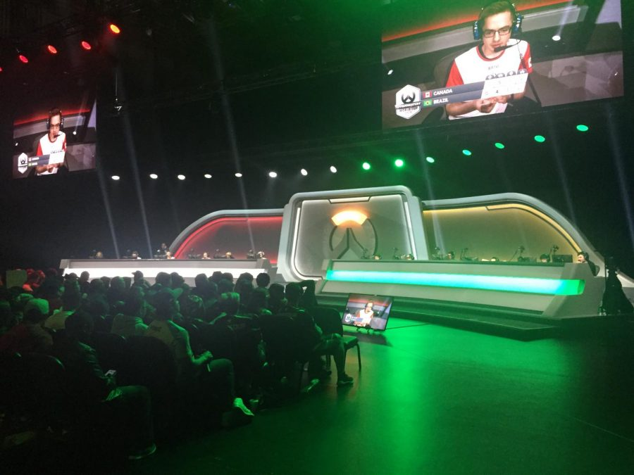 The stage and lights will change based on who is playing and the state of the game.