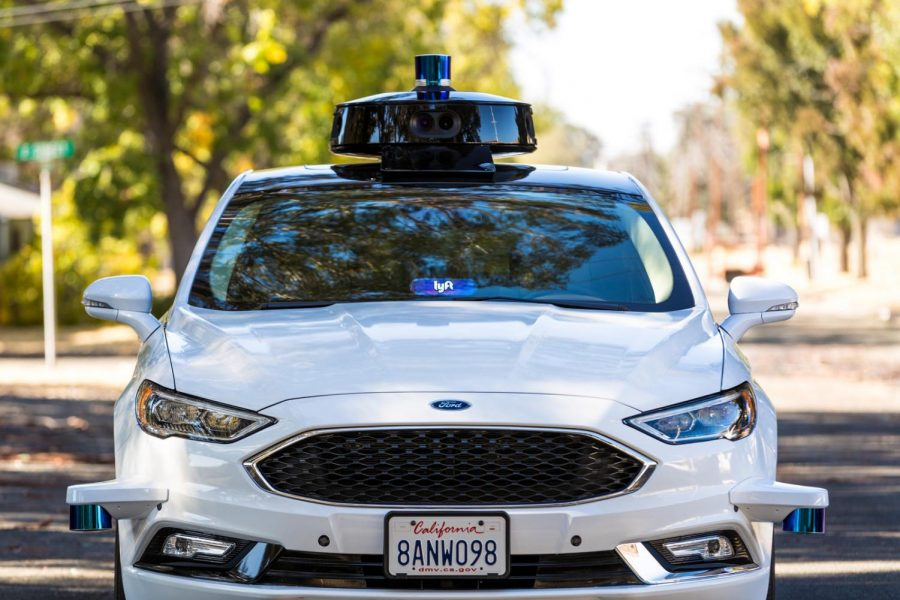 The Ford Fusion collaborates with Lyft autonomy.