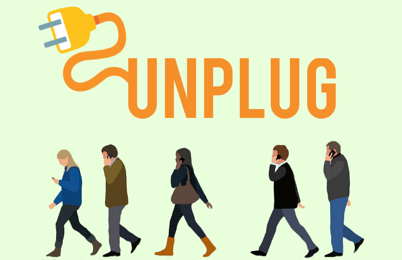 "Phones and technology in general have become an essential in our daily lives. We interact online for its conveniece and for the sake of busy schdules, but there is a time to destress and unplug from it. Lifehacks reccomends 5 ways to ""unplug"" from social media, and  for better and health. (Graphic by Erika Suarez)"